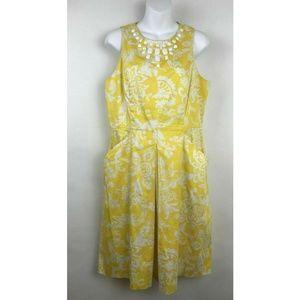 Sandra Darren Yellow Embellished White Dress sz 12